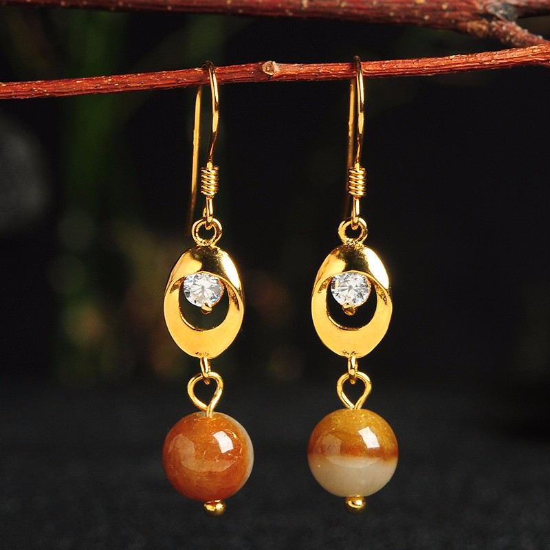 New Arrival 925 Sterling Silver Yellow Colour Beads Women's Dangle Earrings цена