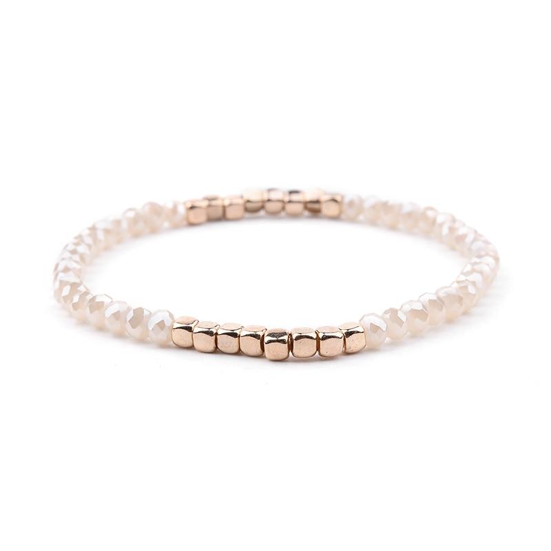 BOJIU многоцветные Кристальные браслеты для женщин золотые акриловые медные бусины розовый белый черный серый женский браслет с кристаллами BC226 - Окраска металла: 20-Light Champagne