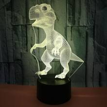 3D Illusion Lamp Tyrannosaurus Rex Lamp Optical 7 LED Colors Changing for Kids Room Birthday Gifts for Boys Girls Child Dinosaur(China)
