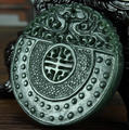 Natural 100% Real HeTian Jade Pendants hand-carved Dragon Buckle Lucky Amulet Green Jade pendant necklace Fine Jade Jewelry