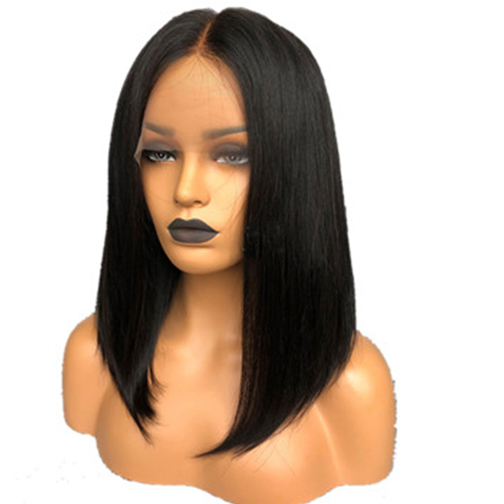 Eversilky Short Bob Wig Middle Part Full Lace Human Hair Wigs For Black Women Peruvian Straight Wig Remy Hair Pre Plucked
