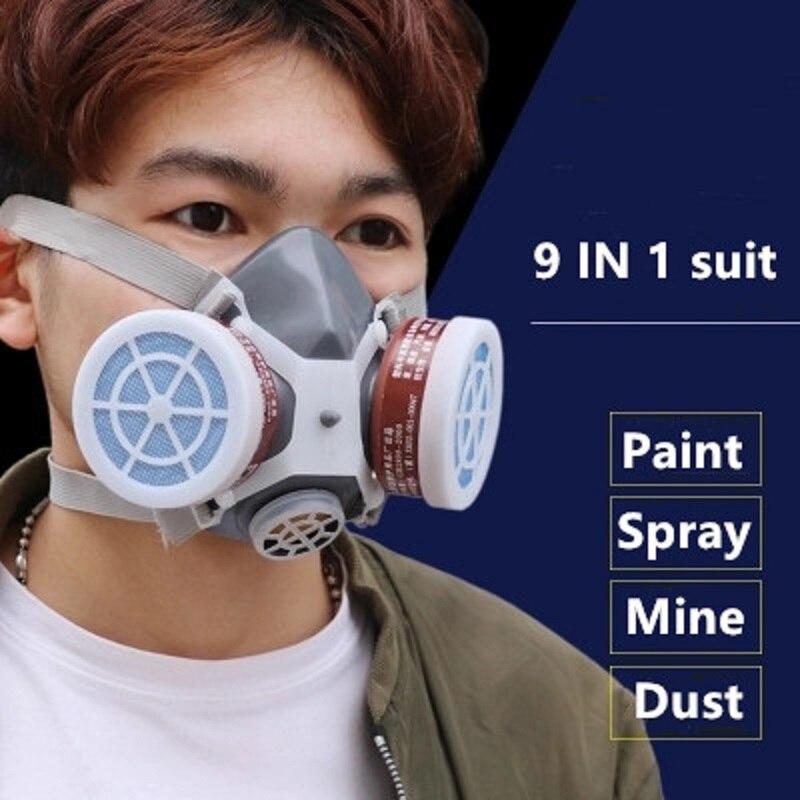 Fumaça Pintura Respirador Máscara de Gás de Proteção De Segurança De Soldagem Gases Químicos Tóxicos Vasilhas Filtro Anti-Poeira Militar No Local de trabalho