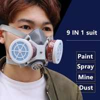 Smoke Gas Mask Protective Respirator Painting Welding Safety Chemical Toxic Gases Canisters Anti-Dust Filter Military Workplace