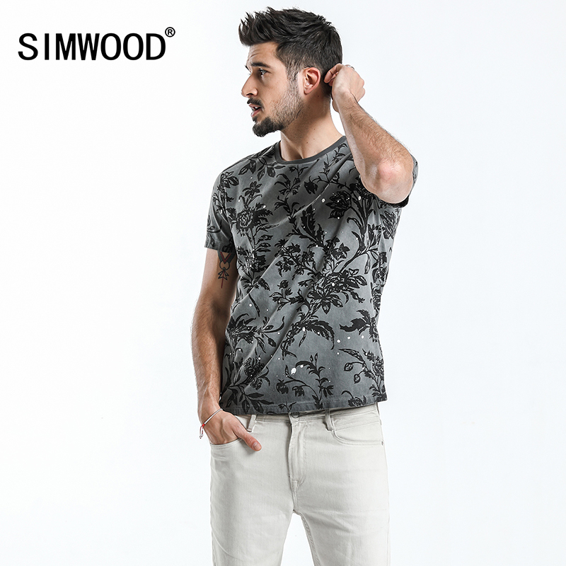 SIMWOOD 2019 Summer Fashion Printed   T  -  Shirts   Men 100% Pure Cotton Tops Tees Slim Fit High Quality Brand Clothing 180046