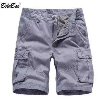 BOLUBAO Fashion Brand męskie szorty bojówki nowe letnie męskie bawełniane krótkie męskie spodenki z kieszeniami na narzędzia wysokiej jakości męskie krótkie spodnie na co dzień tanie i dobre opinie Mężczyźni COTTON Przycisk fly REGULAR Kolano długość Shorts Stałe Kieszenie