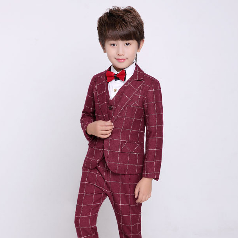 Boys Suit Burgundy Wedding Tuxedo for Kids Plaid Blazer suit Boys 3 Piece Wedding Dress Children Clothing 2015 new arrive super league christmas outfit pajamas for boys kids children suit st 004