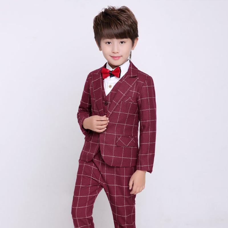 Boys Suit Burgundy Wedding Tuxedo for Kids Plaid Blazer suit Boys 3 Piece Wedding Dress Children Clothing 2 tuxedo