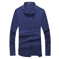 XL 7XL Men Classic Baggy Shirt Spring Autumn Male Casual Business Thin Solid Long Sleeve Varsity