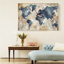 купить Wall Paintings Posters and Prints Wall Art Canvas Paintings Blue World Map Pictures for Living Room Home Decoration No Frame по цене 228.35 рублей