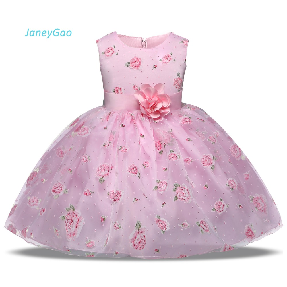 JaneyGao   Flower     Girl   Dresse For Wedding Party 2019 Summer New Hot Cute Kids Formal Gown Print   Flower   Elegant Pink Baby   Dress