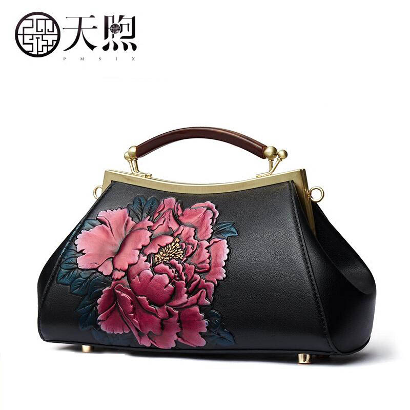 Famous brand top quality dermis women bag  Original designer Chinese wind peony banquet female hand bag