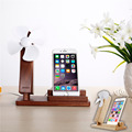 Holder for Your Mobile Phone NEW Bamboo Charge Mount Holder Stand With Cooling Fan For iphone  6s Plus/6 Plus/6/6s Android Phone