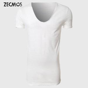 Longline T Shirt Top Tees Extra Long Tee Shirts For Men V Neck Line Skateboard Hip Hop Japan T-Shirt Male Fashion Boys Plain