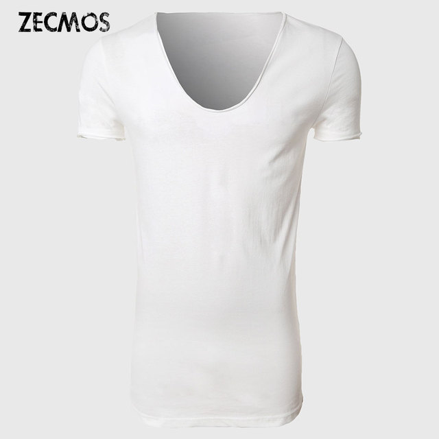 Longline T Shirt Top Tees Extra Long Tee Shirts For Men V Neck Line  Skateboard Hip Hop Japan T-Shirt Male Fashion Boys Plain fc4d350f3bd