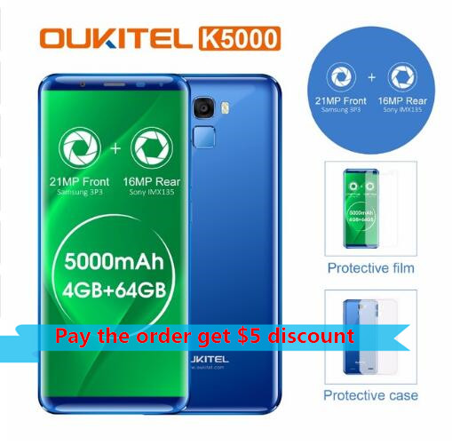 (Auf Lager!) oukitel K5000 5000mAh Smarphone 4GB 64GB MTK6750 Octa Core <font><b>21MP</b></font> + 16MP 5,7