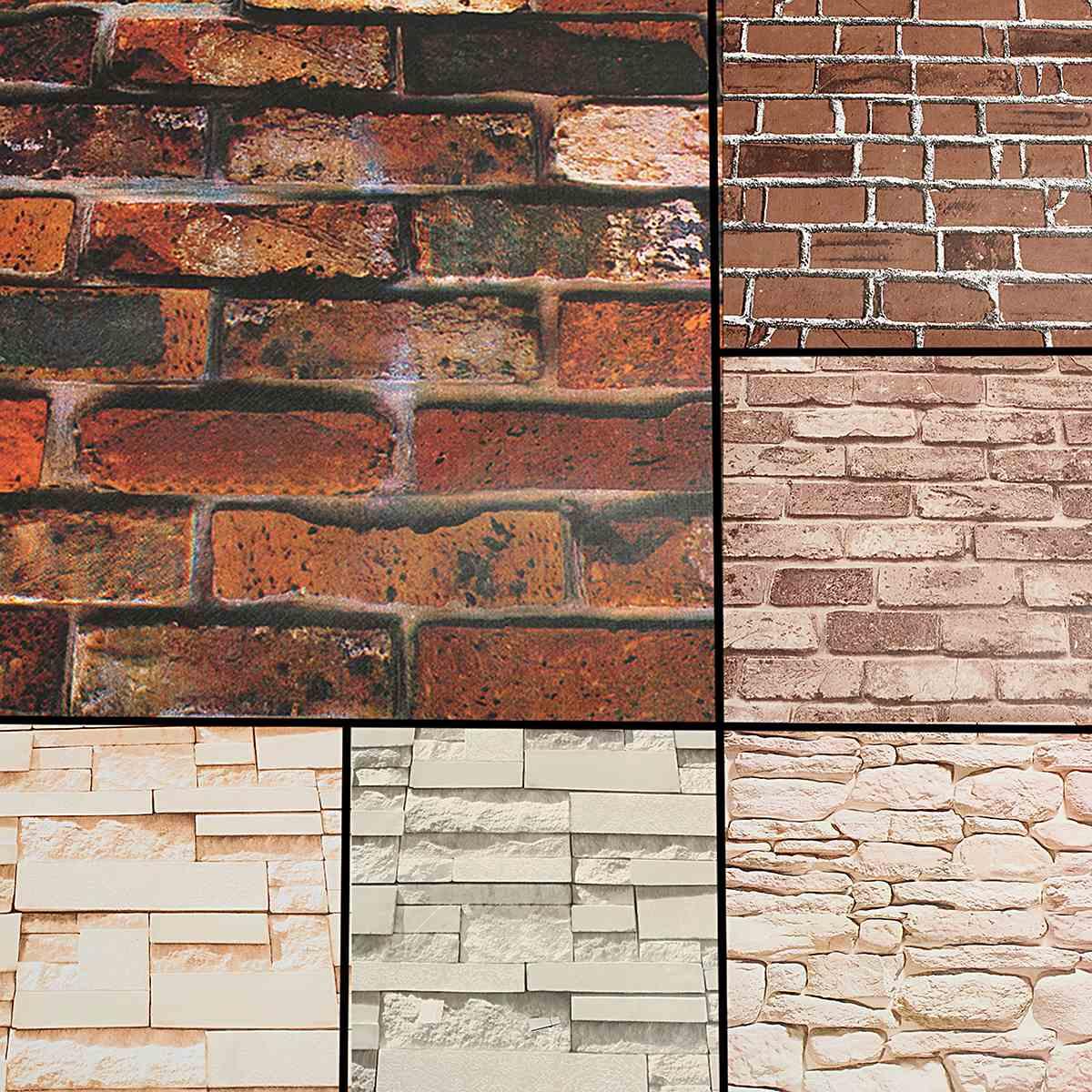 Vintage 3d Brick Wallpaper Roll 45cmx10m Brickwork Self Adhesive Wall Paper Roll Home Shop Decoration