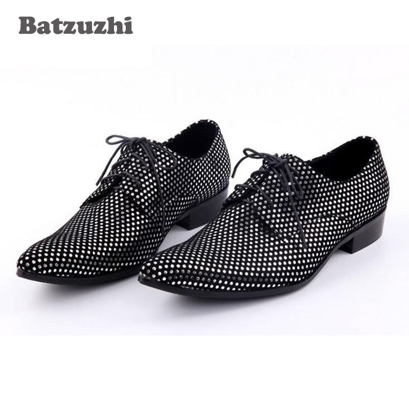 Handmade Men Shoes Lace Up Oxford Crystal Men Dress Shoes Black Leather Men's Evening Party Wedding Formal Shoes Big Size 12 2017 simple common projects breathable lace up handmade leather shoes casual leather shoes party shoes men winter shoes