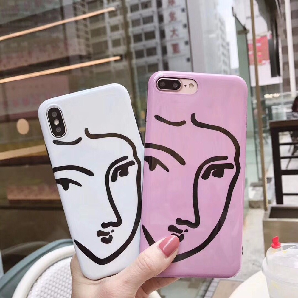 New Lines Face Drawing Soft Silicone Mobile Phone Cases For iPhoneX 8 8Plus 7 7Plus 6 6S 6Plus Plastic Bright Glossy Back Covers