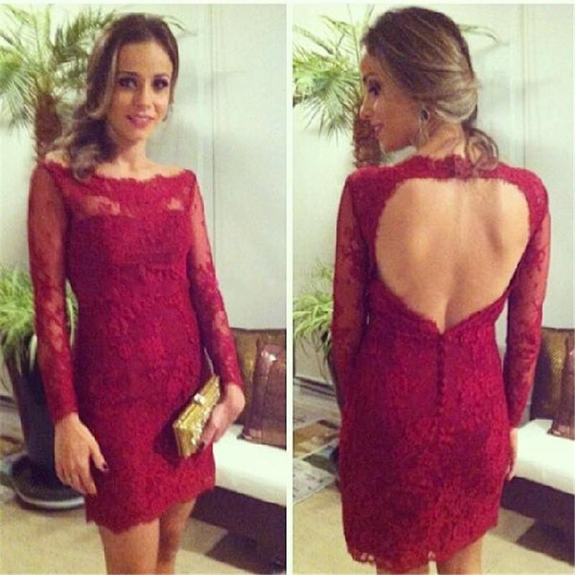 Sexy Red Cocktail Dresses 2017 Lace Long Sleeves Open Back Knee Length Short Prom Dresses Homecoming Party Dresses