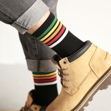 CHAOZHU High Quality Cotton Knitting Rainbow Striped Top White Black Grey Women Men Fashion Causal Socks