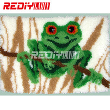 DIY Carpet Rug Latch Hook Kits Acrylic Yarn Embroidery Floor Mat Green Frog Pre-Printed Canvas Wall Hanging Modern Art Crafts(China)