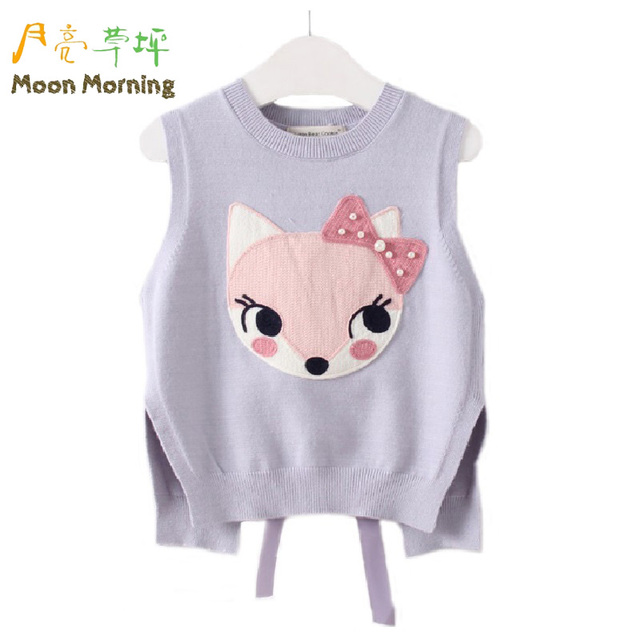 Moon Morning Girls Sweater 18M~8T Fox Pearl Bow Back Pattern Kids Gilets Spring Autumn O-neck New Cartoon Gray Children Clothing