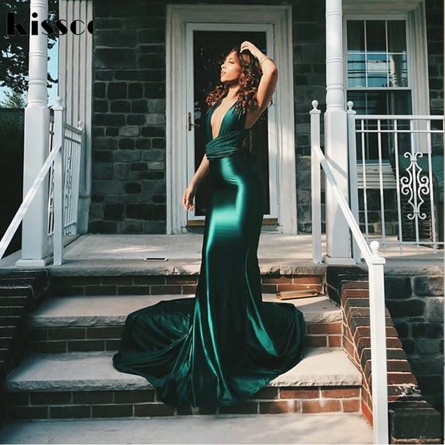 7cc283cc80a1 Sexy Shiny Green Mermaid Maxi Dress Satin Bodycon Open Back Long Floor  Length Backless Tie Straps Sleeveless Wedding Party Dress