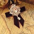 Новая Бесплатная Доставка мужской моды МУЖСКОЙ женский роскошный кристалл кулон воротник мастер жениха свадьба алмаз velve лук галстук продвижение
