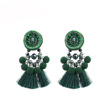 STRATHSPEY Green Color Tassel Earrings For Women Vintage Long Pompom Fringe Earring Bohemia Beads Earing Jewelry