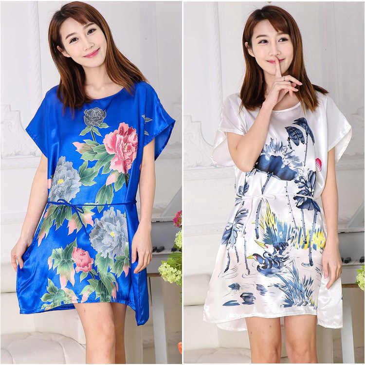 Sexy Plus Size Homewear Satin Night Gewaad Bloem Badjas Nachtjapon Voor Vrouwen Kimono Nachtkleding Vrouwelijke Zomer Pyjama 16