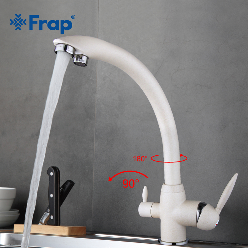Frap New Arrival Kitchen Faucet Deck Mounted Mixer Tap 180 Degree Rotation with Water Purification Features