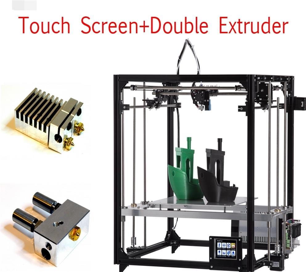 Grande taille zone D'impression 3D imprimante X5 DIY kits en aluminium profil joint 12864 LCD contrôleur bowden extrudeuse Grand heatbed plaque