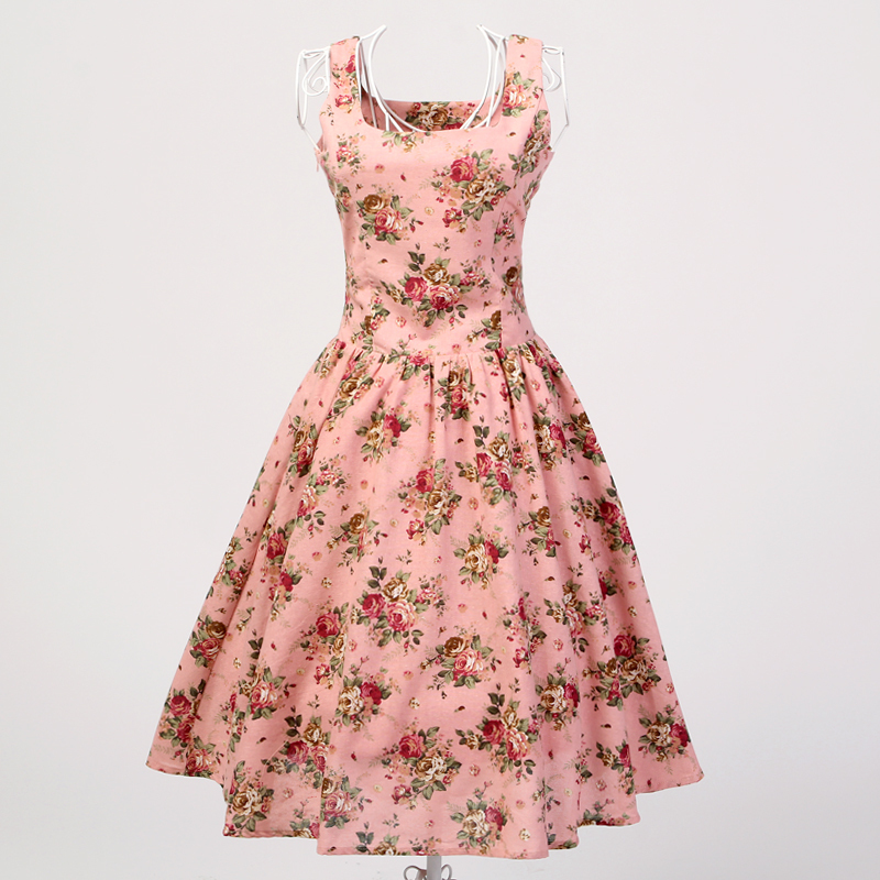 Candow Look Womens Summer Style Cotton Linen Pink Floral Vintage Rockabilly 1950s Retro Swing Pinup Short Party Cute Dresses
