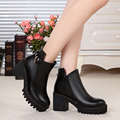Woman boots 2016 genuine leather boots naked boots warm winter thick Cowhide heavy-bottomed Martin boots, free shipping
