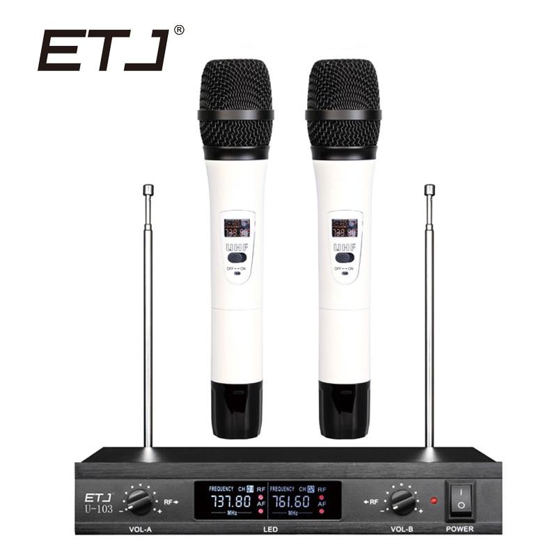ETJ Brand Dual Wireless Microphone Changable Handheld Bodypack Wireless Microphone U-103