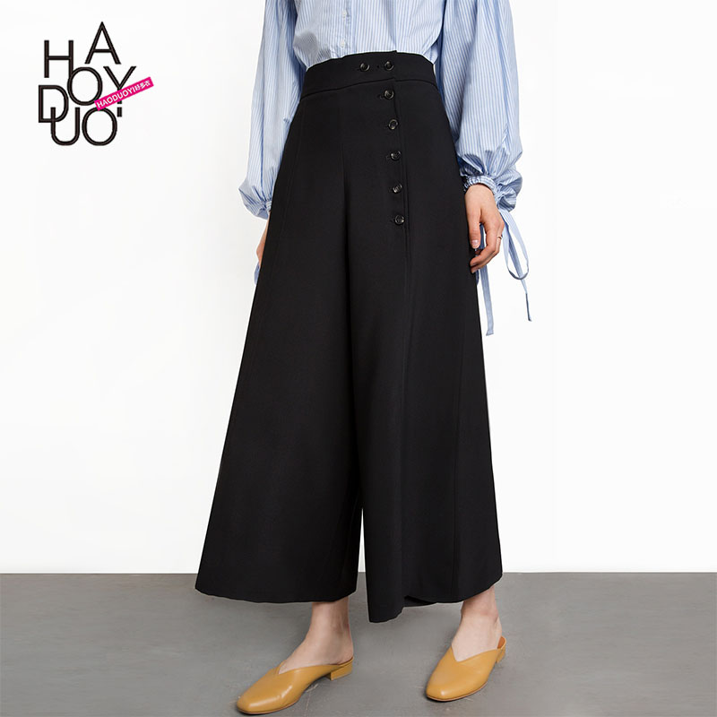 western style fashion loose cute solid color buttons high waist SML XL XXL black woman's Casual   wide     leg     pants