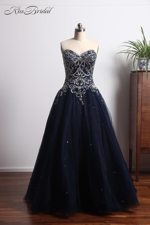 New Fashion Navy Blue   Prom     Dresses   Ball Gown 2018 Sweetheart Neckline Tulle Evening Gowns vestido de graduacion
