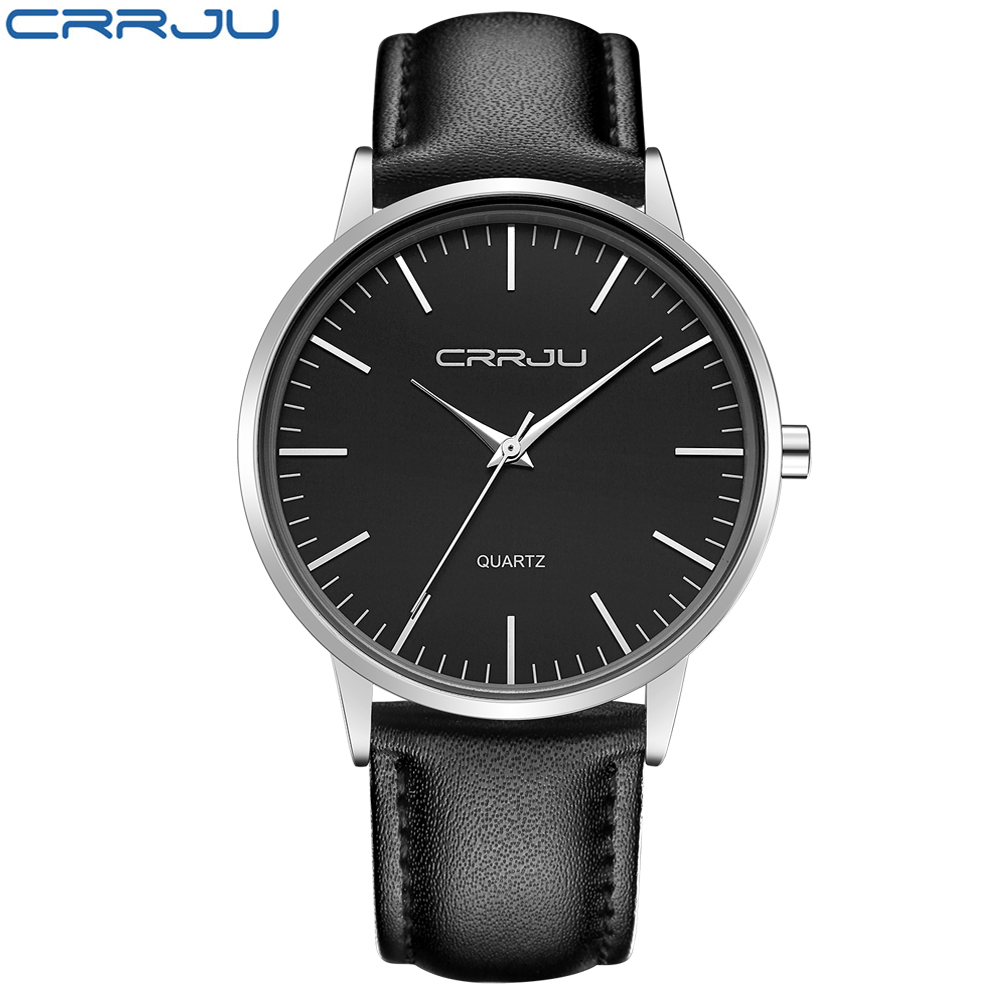 7mm Ultra Thin Men's Watches Top Brand Luxury CRRJU Men Quartz Watch Fashion Casual Sports Watches Business Leather Male Watch