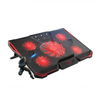 Laptop Cooler With 5 Fans 2 USB Ports Red Back Light And Notebook Cooling Pad For
