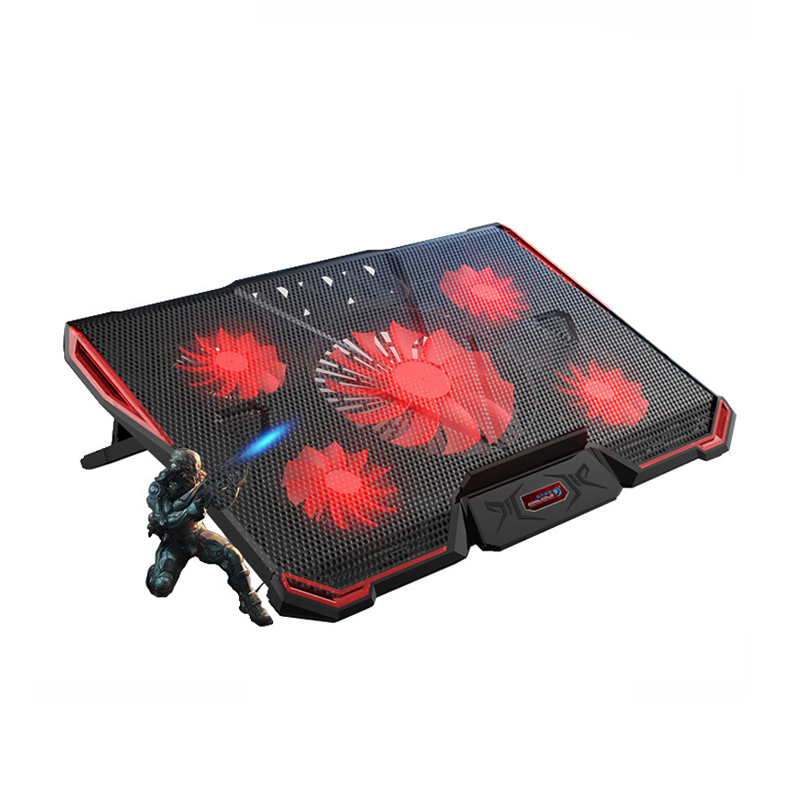 Laptop cooler with 5 fans 2 USB ports Red back light and notebook cooling pad for 15.6 17 18 19 inch Computer stand adjustable