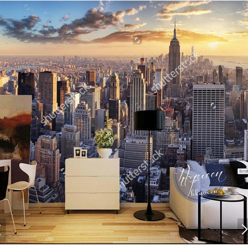 Custom vintage wall wallpaper New York city night for the living ...