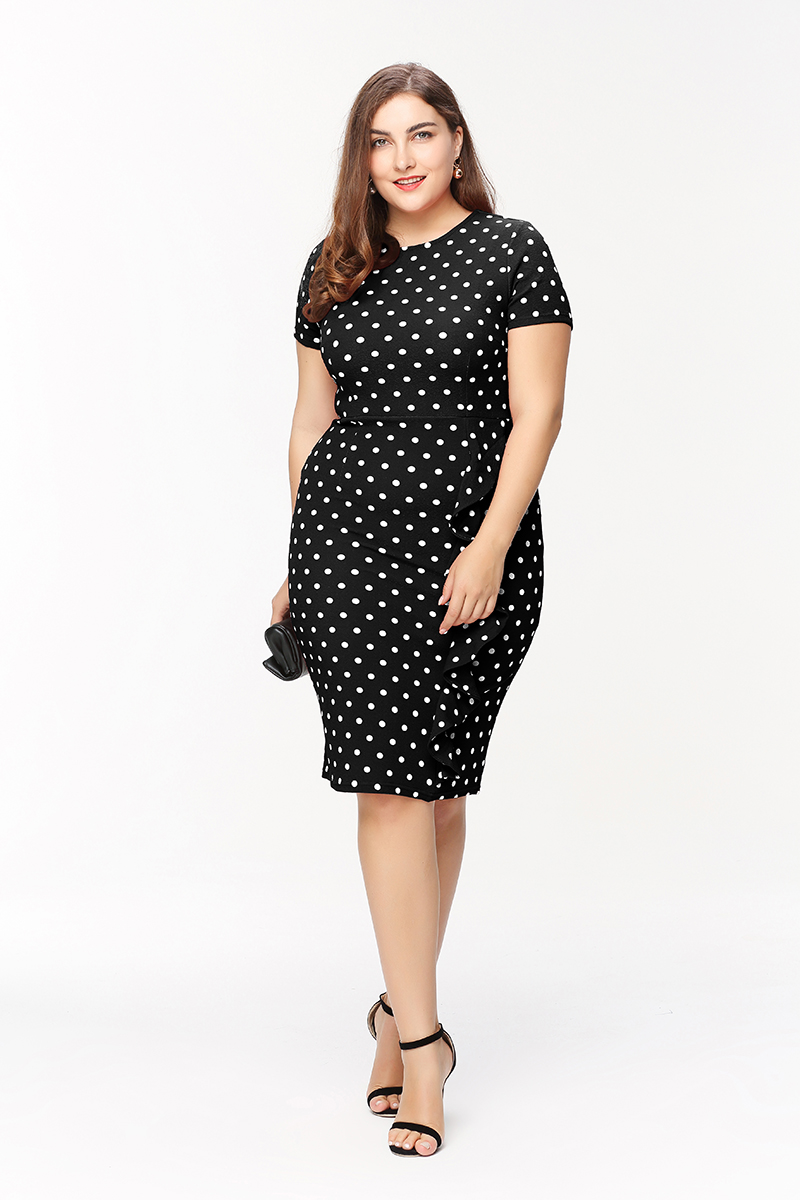 2017 new Fashion women Polka Dot of Bodycon dress Girls Slim Office Work  Business Party Dress Plus size-in Dresses from Women s Clothing on  Aliexpress.com ... 2e6e666b9669