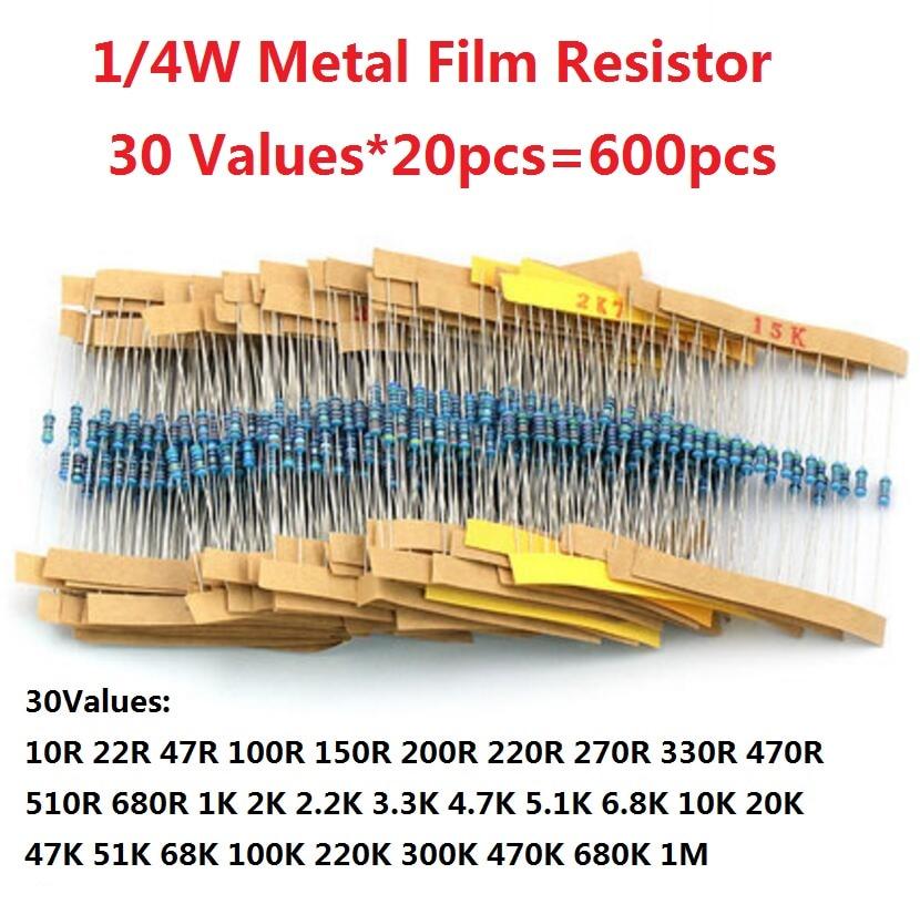 600 Pcs (30 Kinds X Each 20pcs) Value Metal Film Resistor Pack 1/4W 1% Resistor Assorted Kit Set 1K 10K 10R 22R 100R 150R 200R