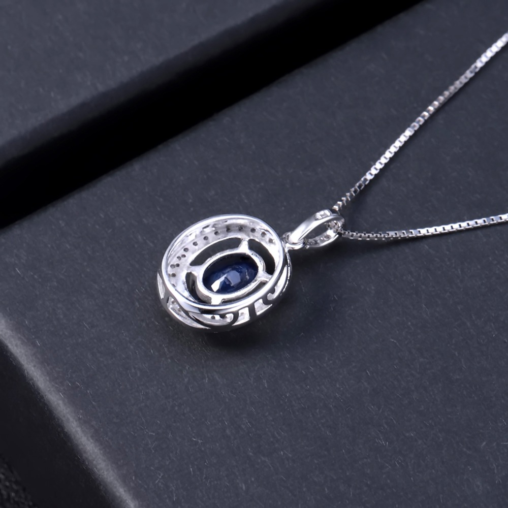 Image 4 - GEMS BALLET 3.24Ct Oval Natural Blue Sapphire Classic Pendant  Necklace 925 Sterling Silver Gemstone Fine Jewelry  for WomenPendants