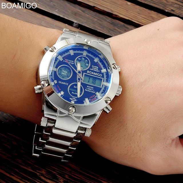 watches men luxury brand BOAMIGO sports military watches Dual Time Quartz Analog Digital Clock  LED steel strap wristwatches