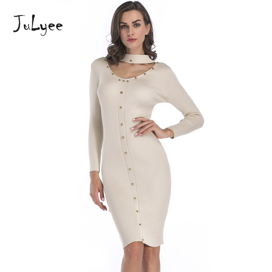 Julyee Sexy Rivet Knitting Bodycon Dress Autumn Winter Sheath Slim Fit Pencil Long Sleeve Bow Neck Midi Womens Clothing Casual