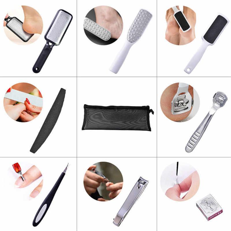 TTLIFE manicura pedicura cortaúñas piel muerta Planing pies Set callos removedor duro fregadero negro pie Scrub manicura herramientas