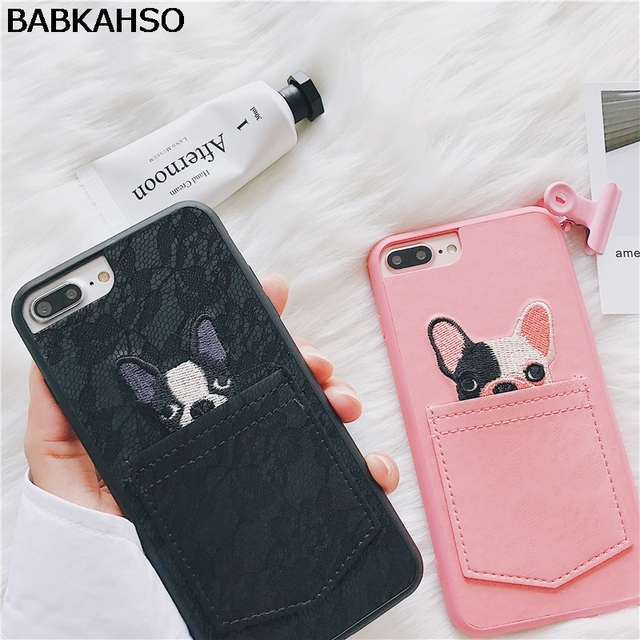 BABKAHSO Lace embroidery bulldog Case For iPhone 7 7Plus 8...