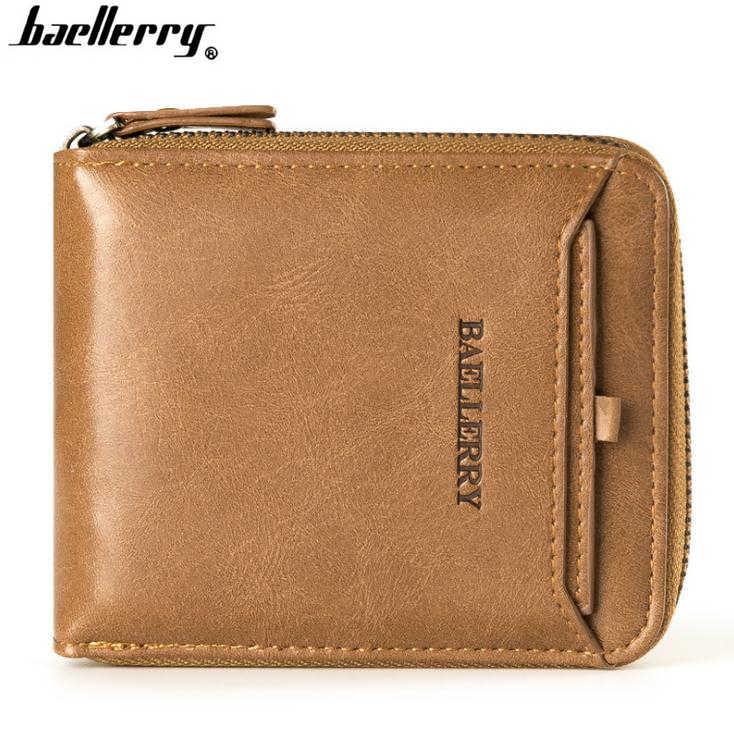 f590f7b0ad7b66 Baellerry Fashion Short Wallet Men Brand Design Leather Male Clutch Casual  Purse Card Holder Coin Pocket