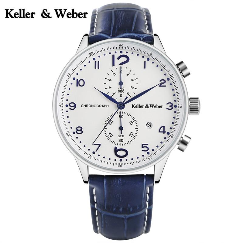 Keller & Weber 2017 New Arrival Men Quartz Wristwatch Genuine Leather Watchband Date Chronograph Luxury Watches for Business Men keller